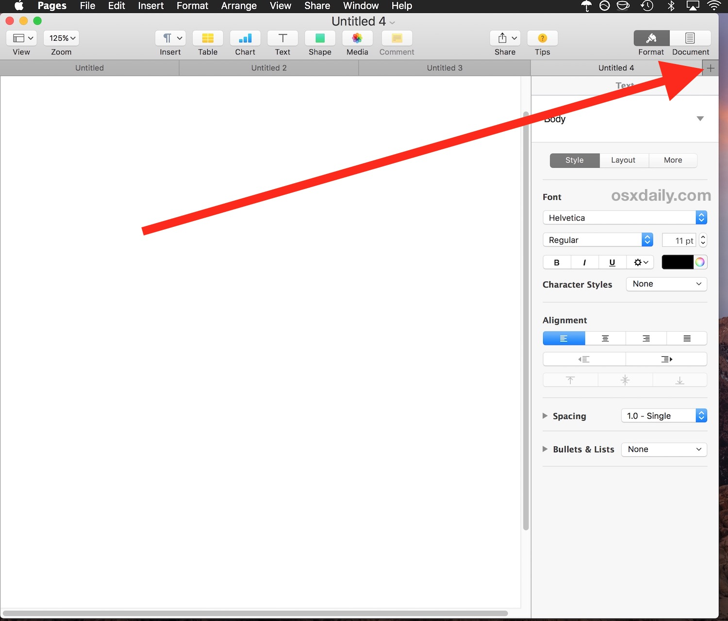 Create new Tab in Pages for Mac