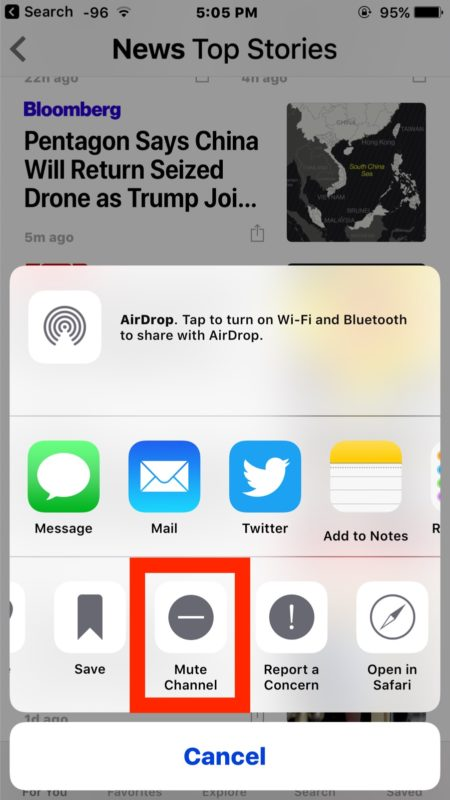 Mute a news source in Apple News to hide and block that news source from showing in feed