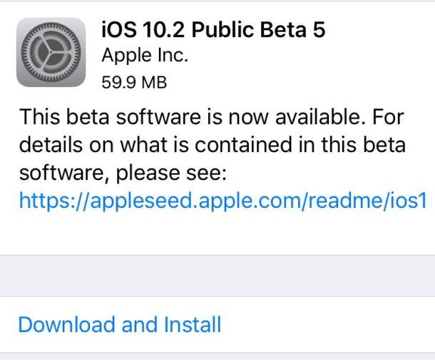 iOS 10.2 beta 5