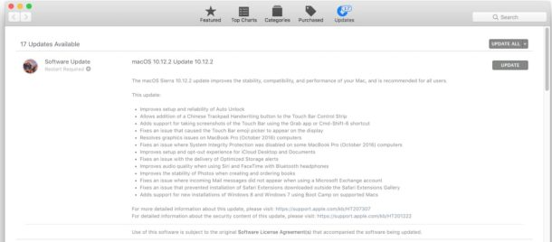 MacOS 10.12.2 update available to download