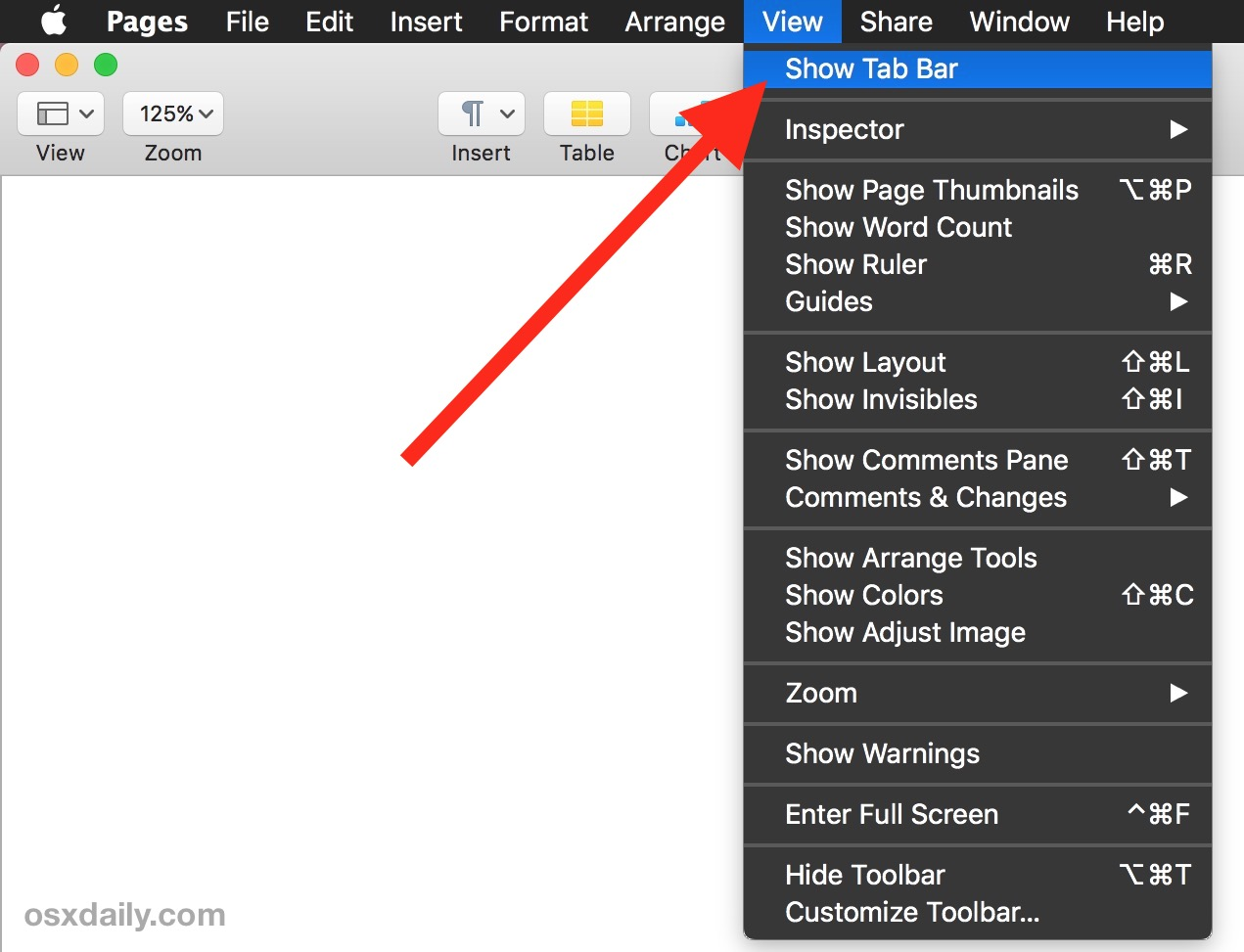 Show Pages Tabs on Mac