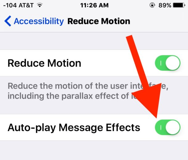Reduce Motion with Message Effects enabled