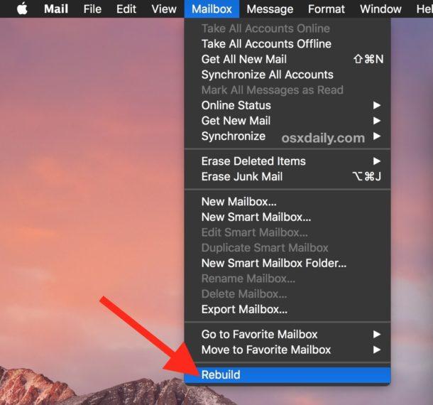 Rebuild Mailbox on Mac Mail