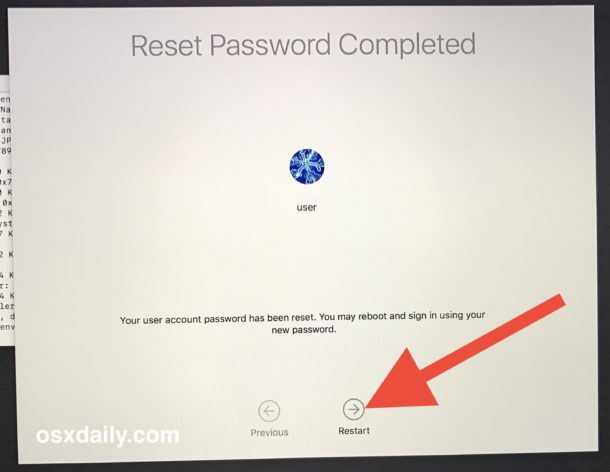Restart the Mac with the newly reset password
