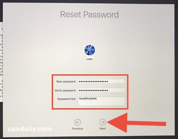 Setting the new password