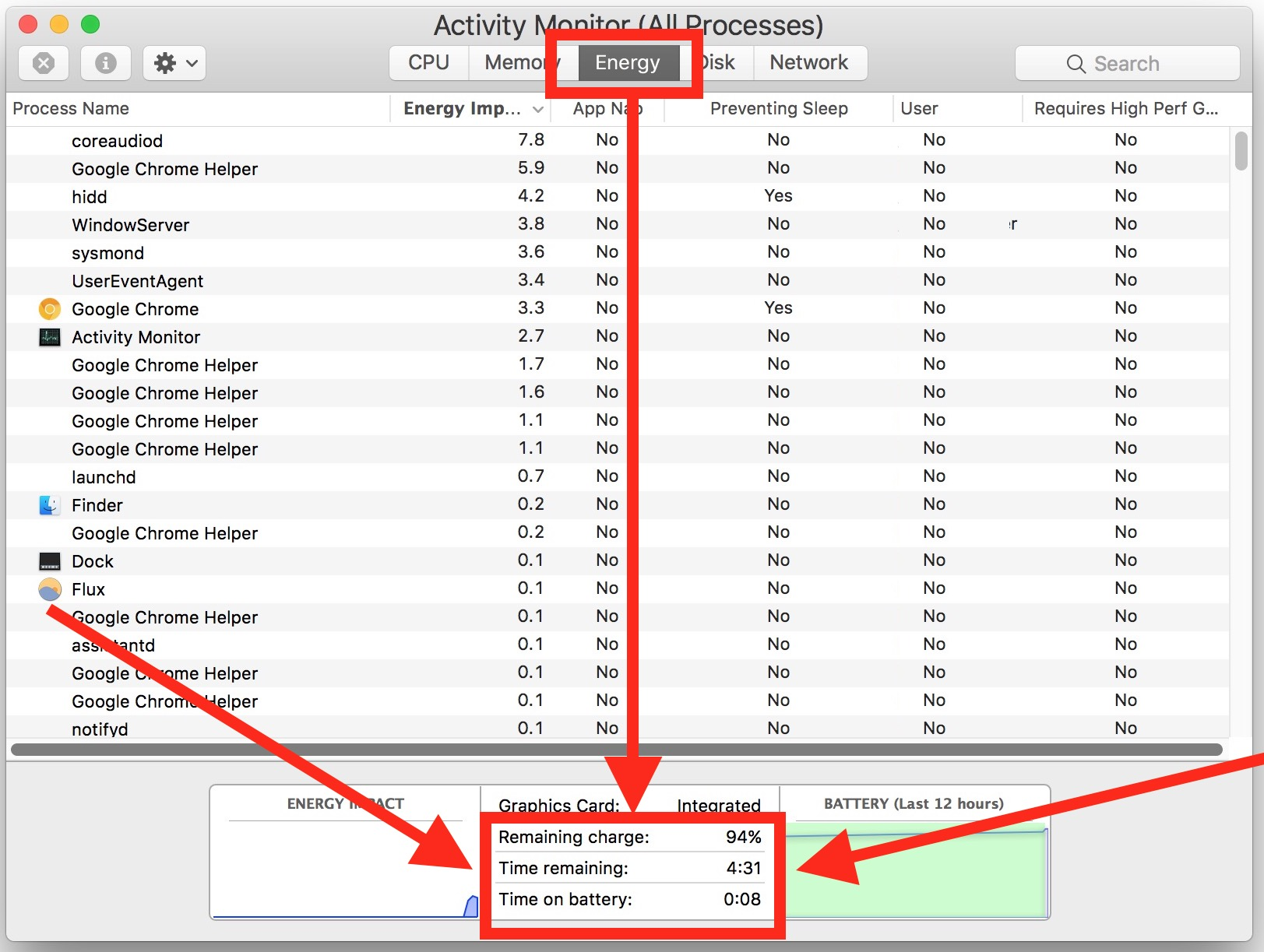 See battery life remaining estimate in MacOS Activity Monitor