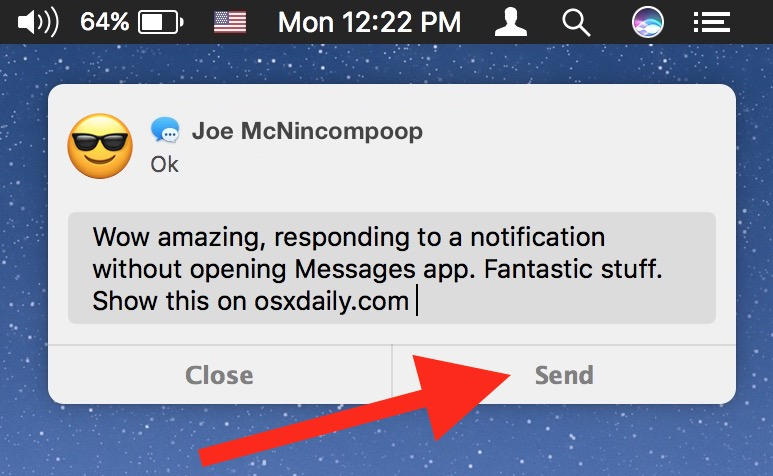 Send a respond to message from notification on Mac