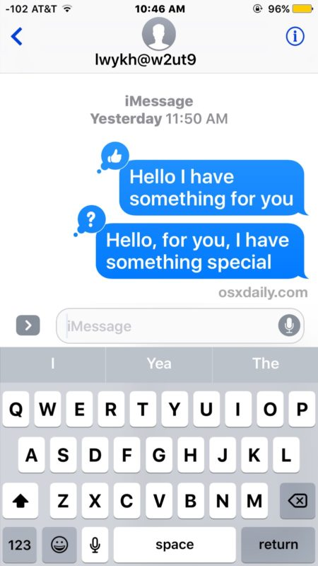 Tapback Messages showing in iOS imessage