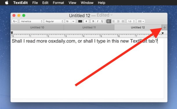 Using TextEdit tabs on Mac