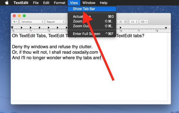 Show tabs in TextEdit