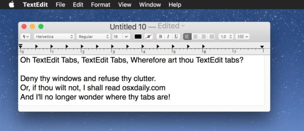 TextEdit tabs on Mac