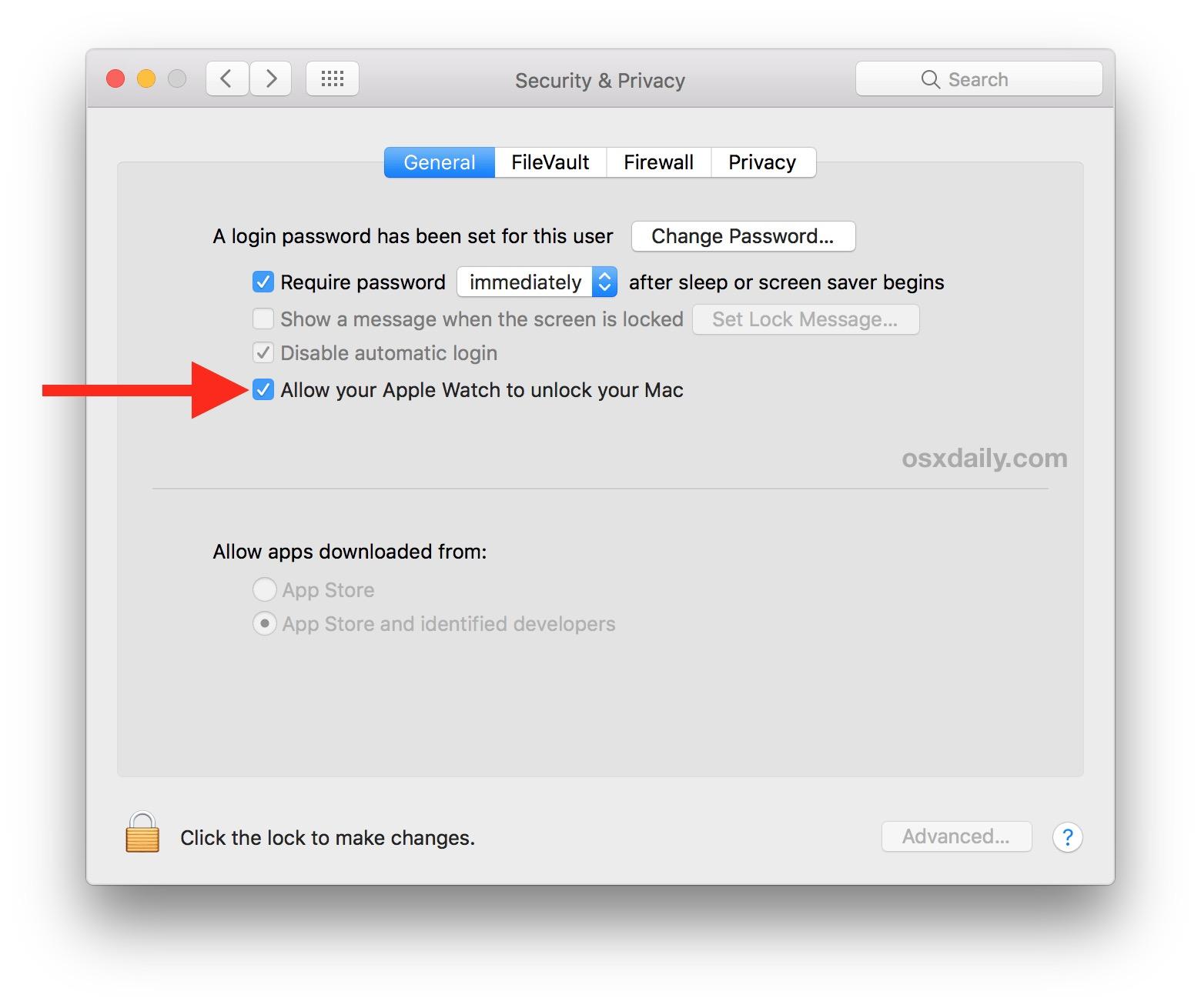 Allow Apple Watch to Unlock Mac