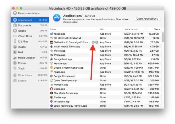 Choose which app to delete from Mac in Storage Management