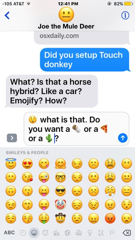 Emoji message converted from words into emoji icons in Messages on iPhone