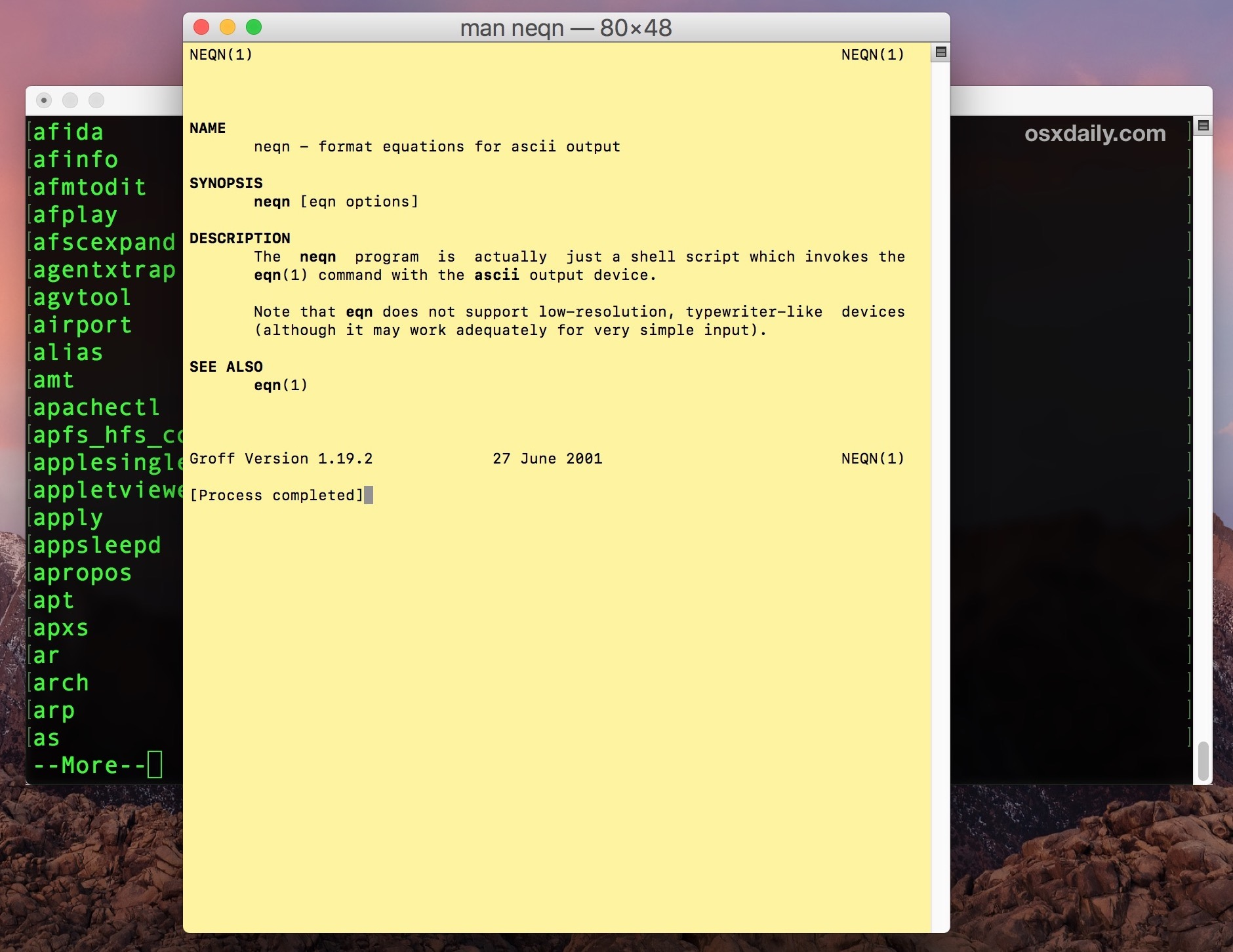 Man page explains the terminal command