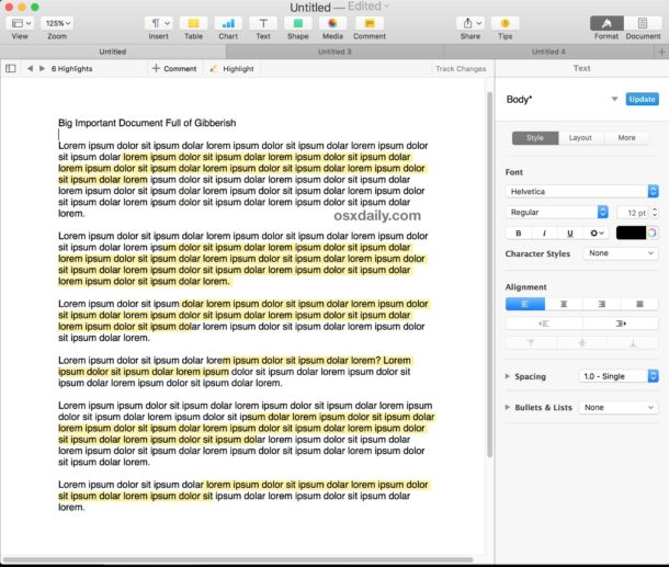 How to highlight in Pages for Mac