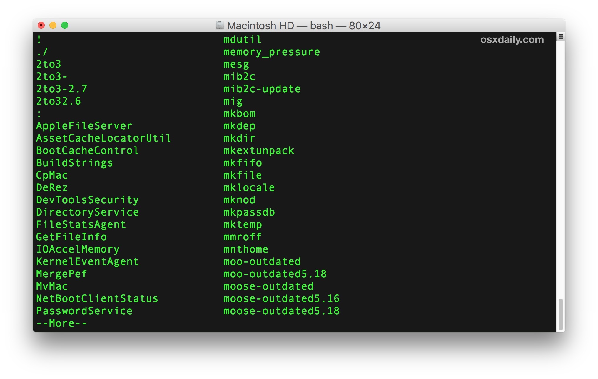 Showing all terminal commands on Mac