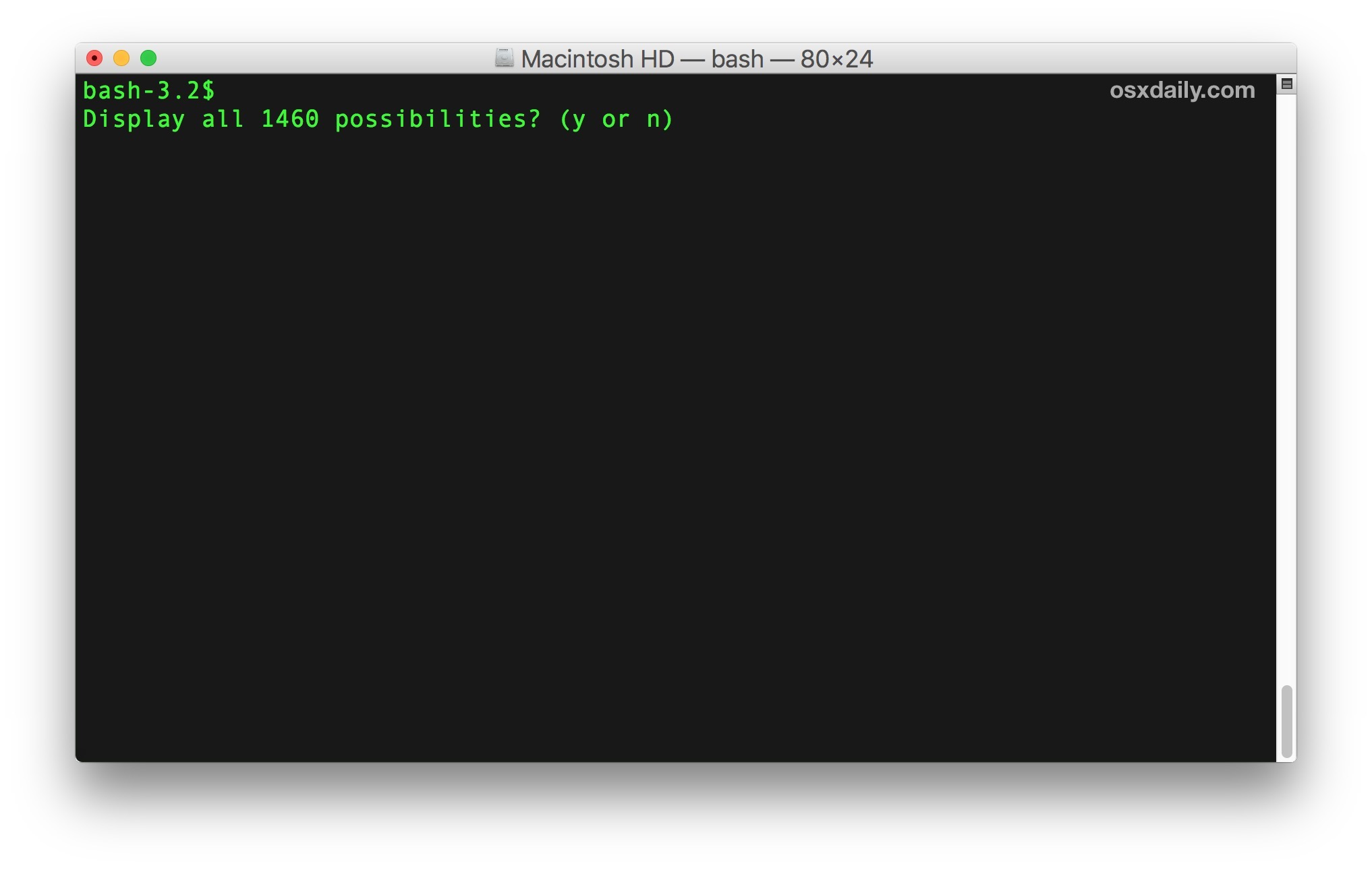 Listing every possible terminal command on the Mac