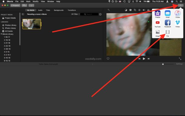Save a recorded movie from iMovie