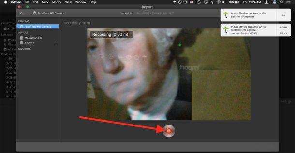 Stop recording the movie into iMovie
