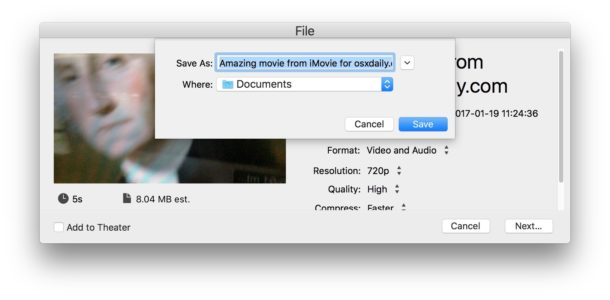 Saving the recorded video from iMovie