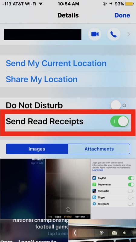 Send Read Receipts for individual contacts in iOS Messages