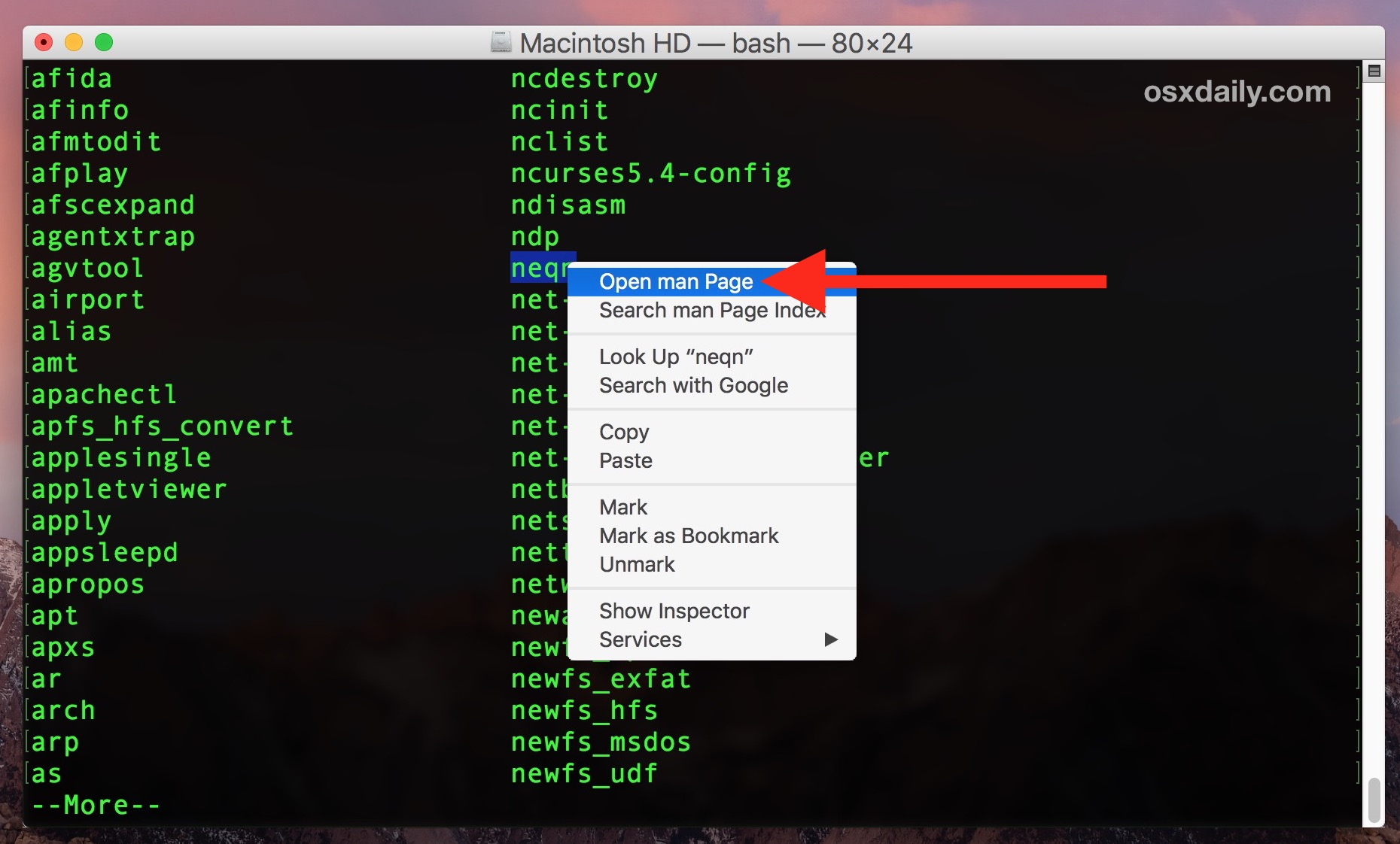 Show info about a specific terminal command