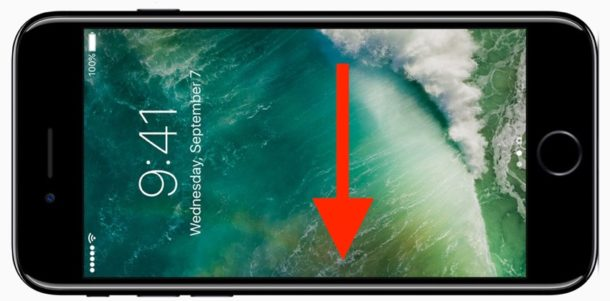 Swipe down to access camera from lock screen
