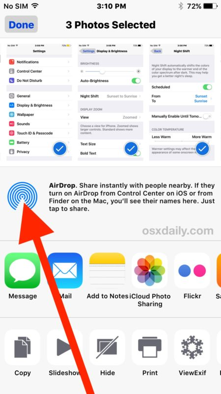 Tap AirDrop from Sharing icon in iOS