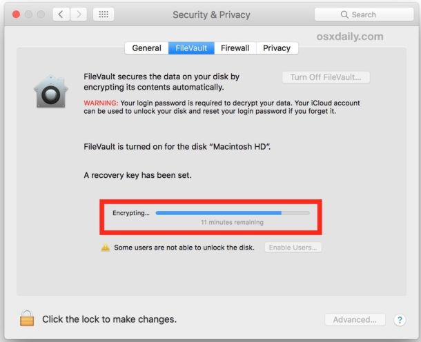 Check Filevault encryption progress