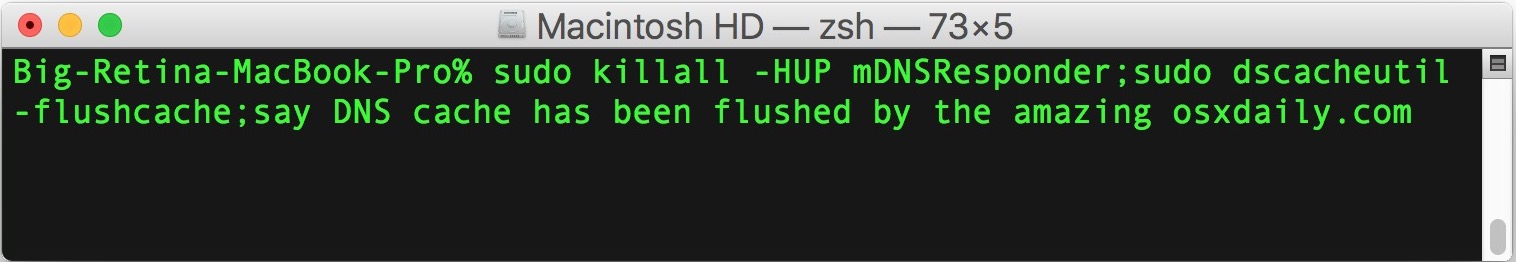 Clear DNS Cache in MacOS