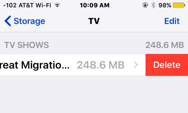 Deleting movies from the TVapp in iOS