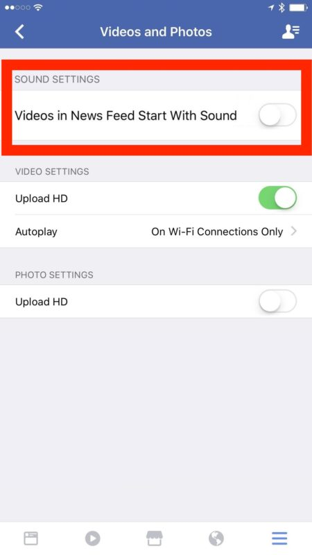 Disable Facebook auto-play video sound iOS