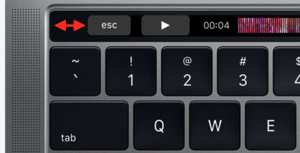 Escape key gap indentation Touch Bar