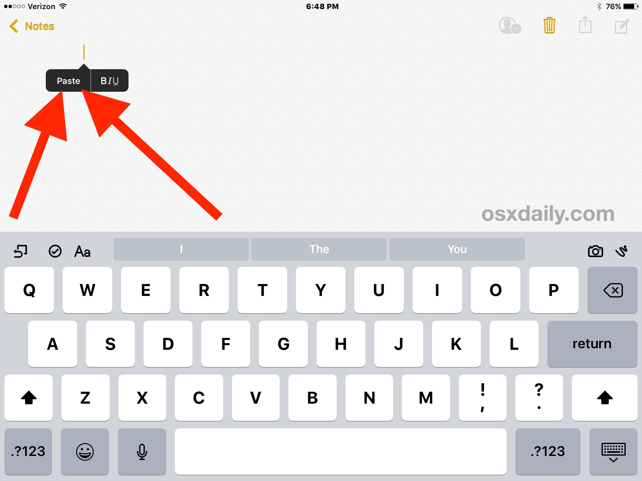 How to copy and paste on iPad