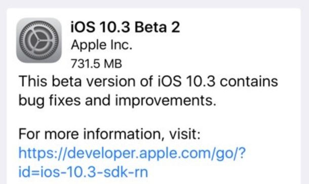 iOS 10.3 beta 2 ota download
