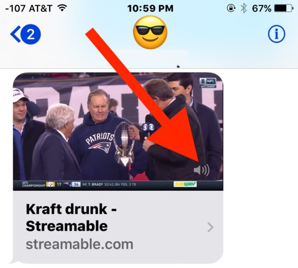 Mute the audio from embedded videos in messages