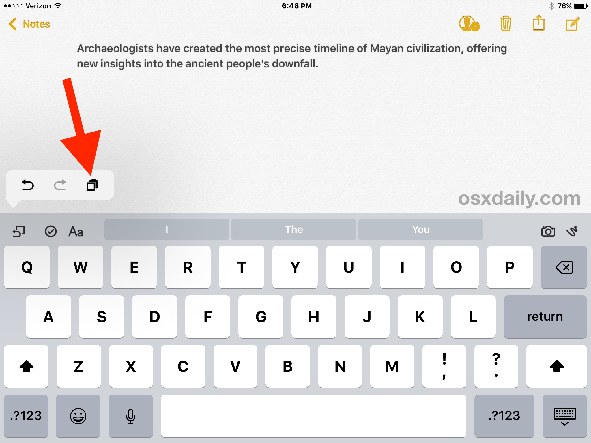 Using copy and paste with virtual keyboard on iPad