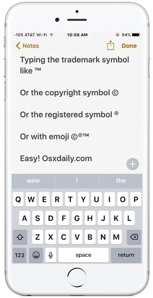 copyright symbol iphone how to type trademark copyright symbols on iphone and 10439