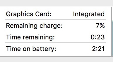 Example battery time of MacBook Pro in real life usage