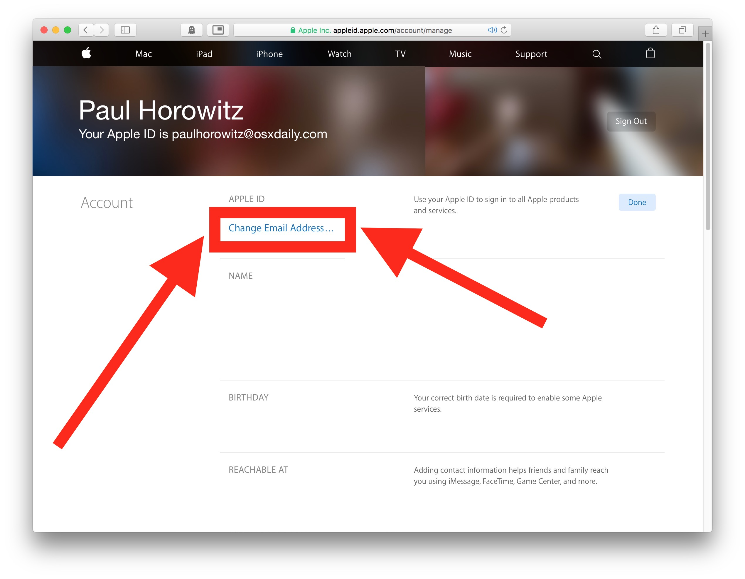 How to change email address linked to Apple ID