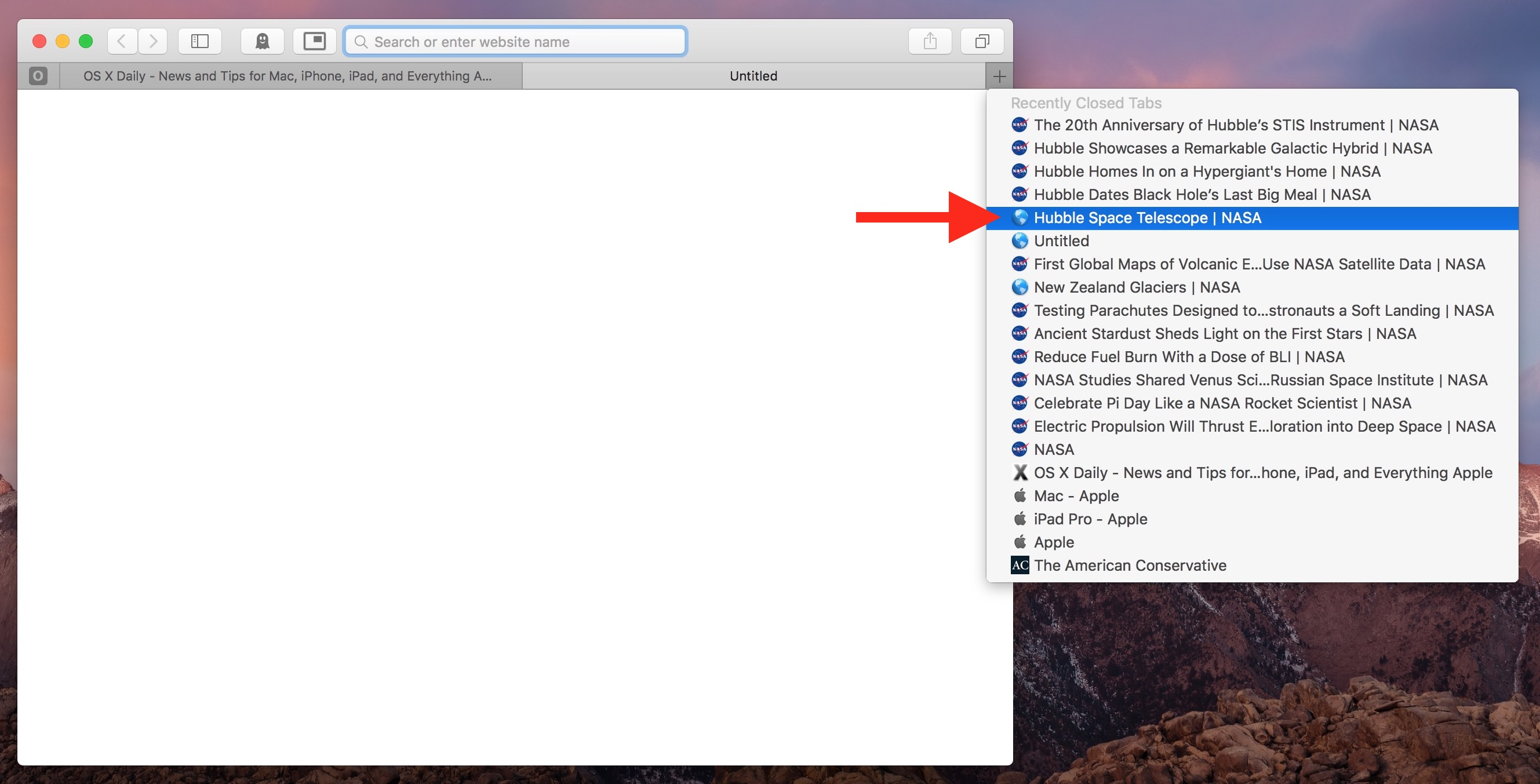Reopening and choosing which tabs to Reopen in Safari on Mac