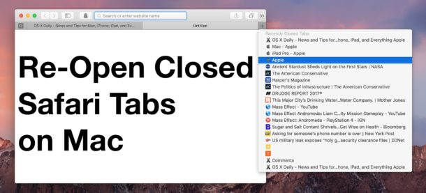 Re-open closed Safari tabs on Mac