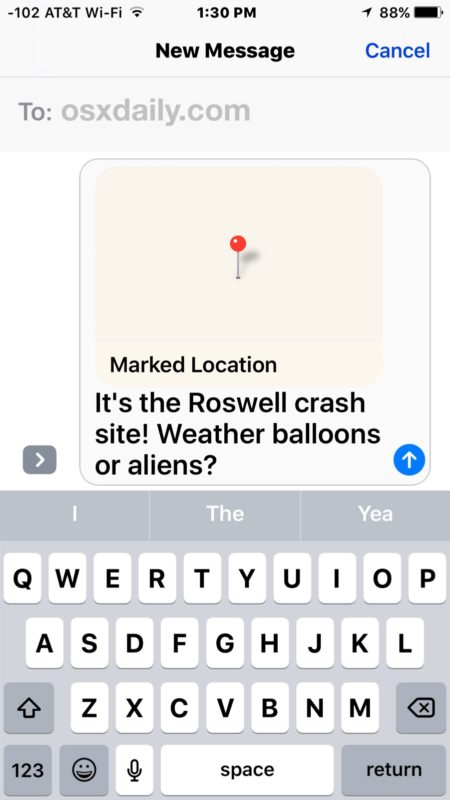Sharing a marked location on Maps from iPhone