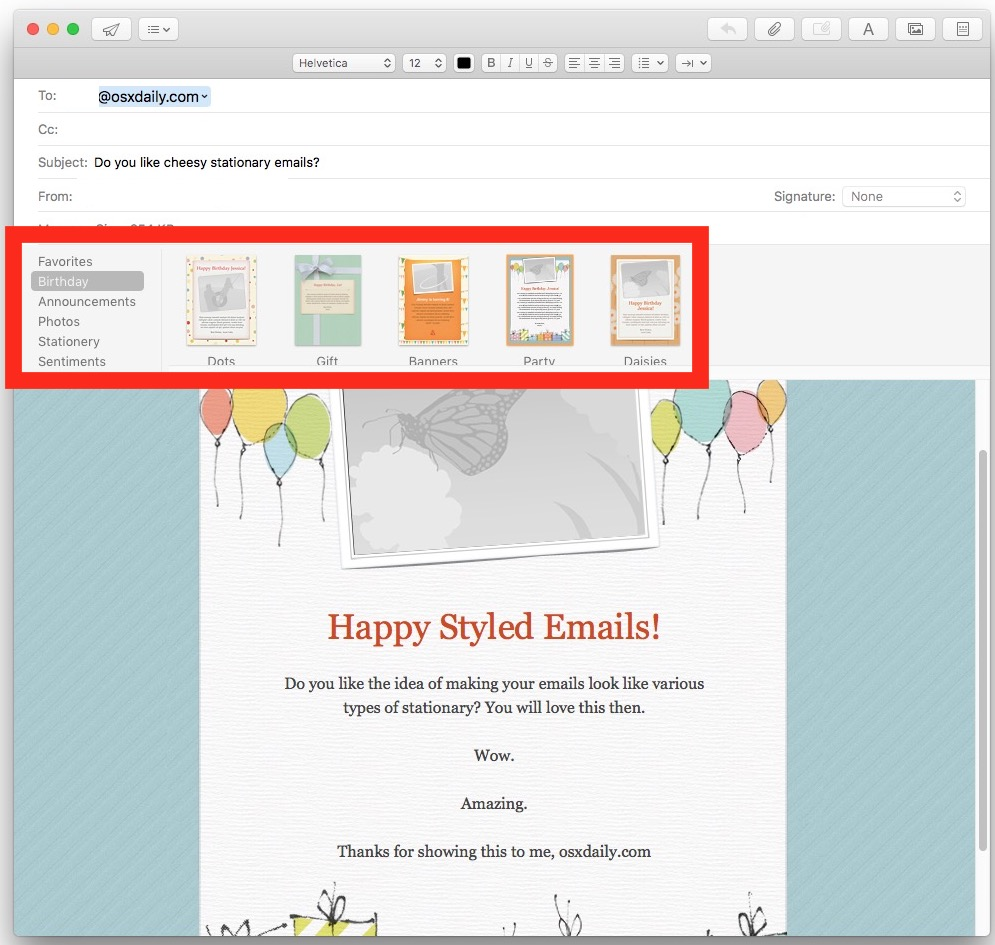 Personal Emails with Browse through Stationery in Mail for Mac