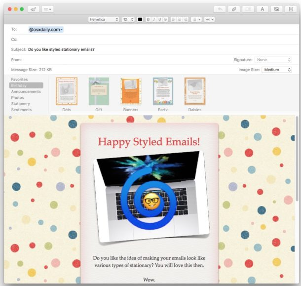 Use Stationery in Mail for Mac
