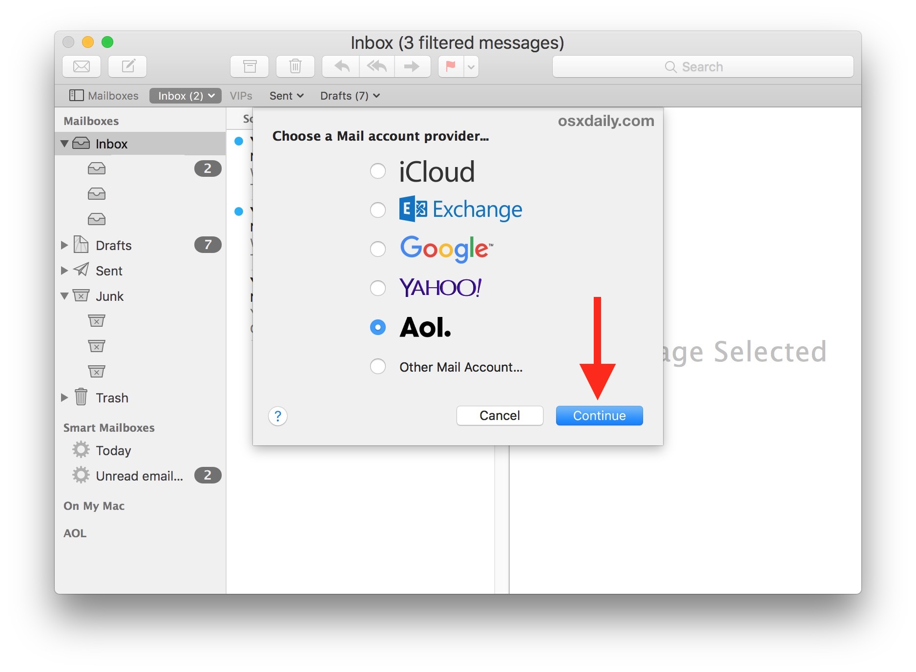 Choose which email account to add to Mac