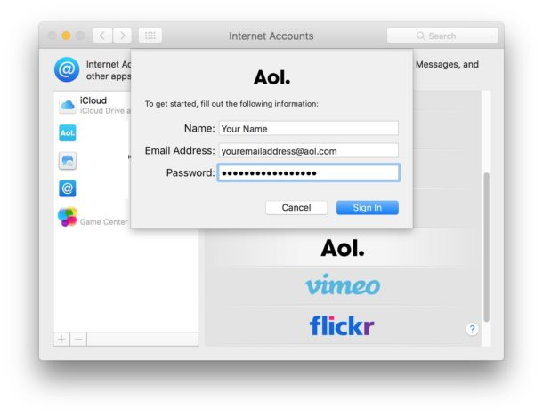 Add email account to Mac from Internet Account system prefs