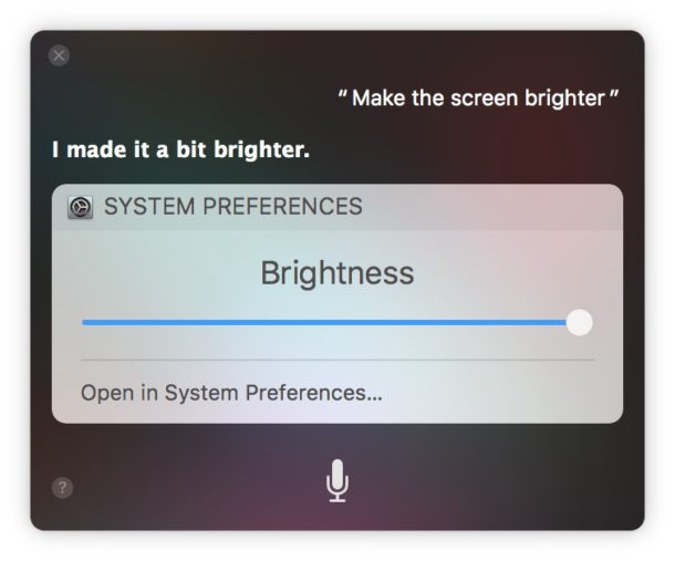 How to make the screen brighter on Mac with Siri voice commands
