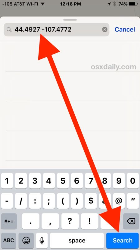 How to Input Location with GPS Coordinates on iPhone Maps | OSXDaily
